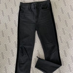 Black Zara skinny jeans with velvet detail